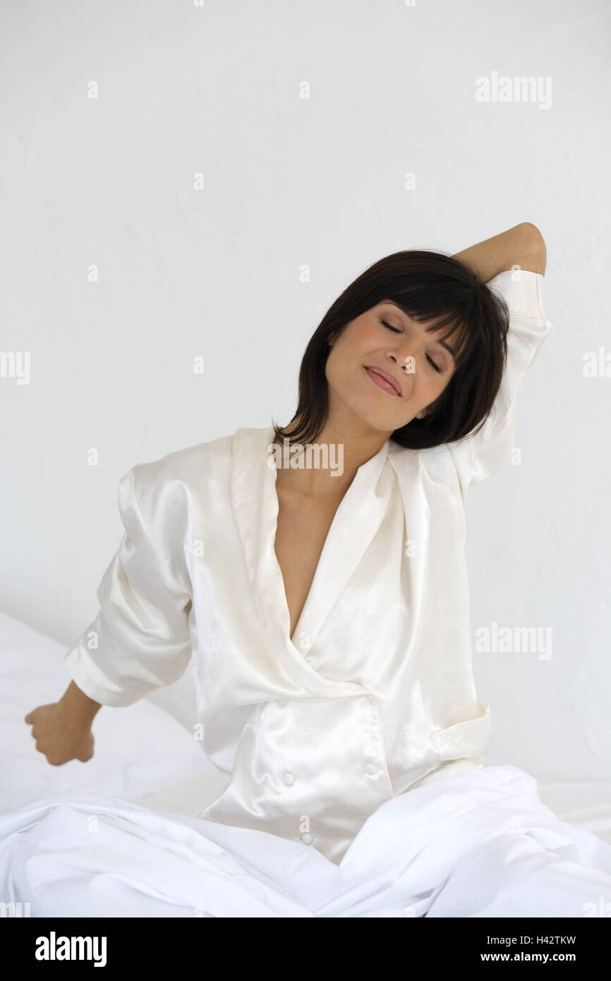Woman Sit Young Sleep Suit Bed Stretch Stock Photo 122994477