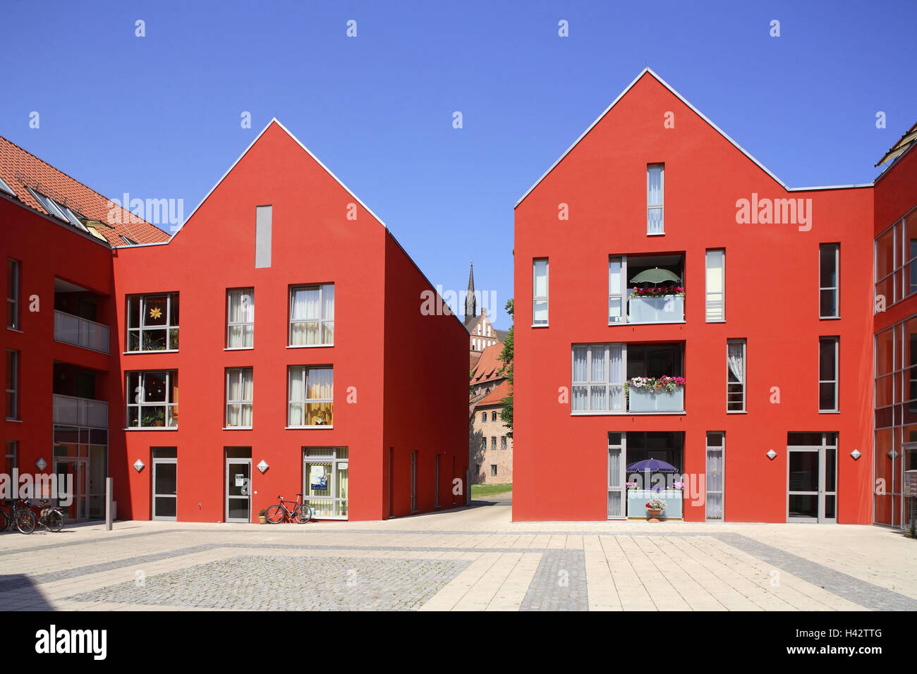 Germany, Mecklenburg-Western Pomerania, Wismar (city), building, facade, red, detail, city, home, Home, house facade, - Stock Image