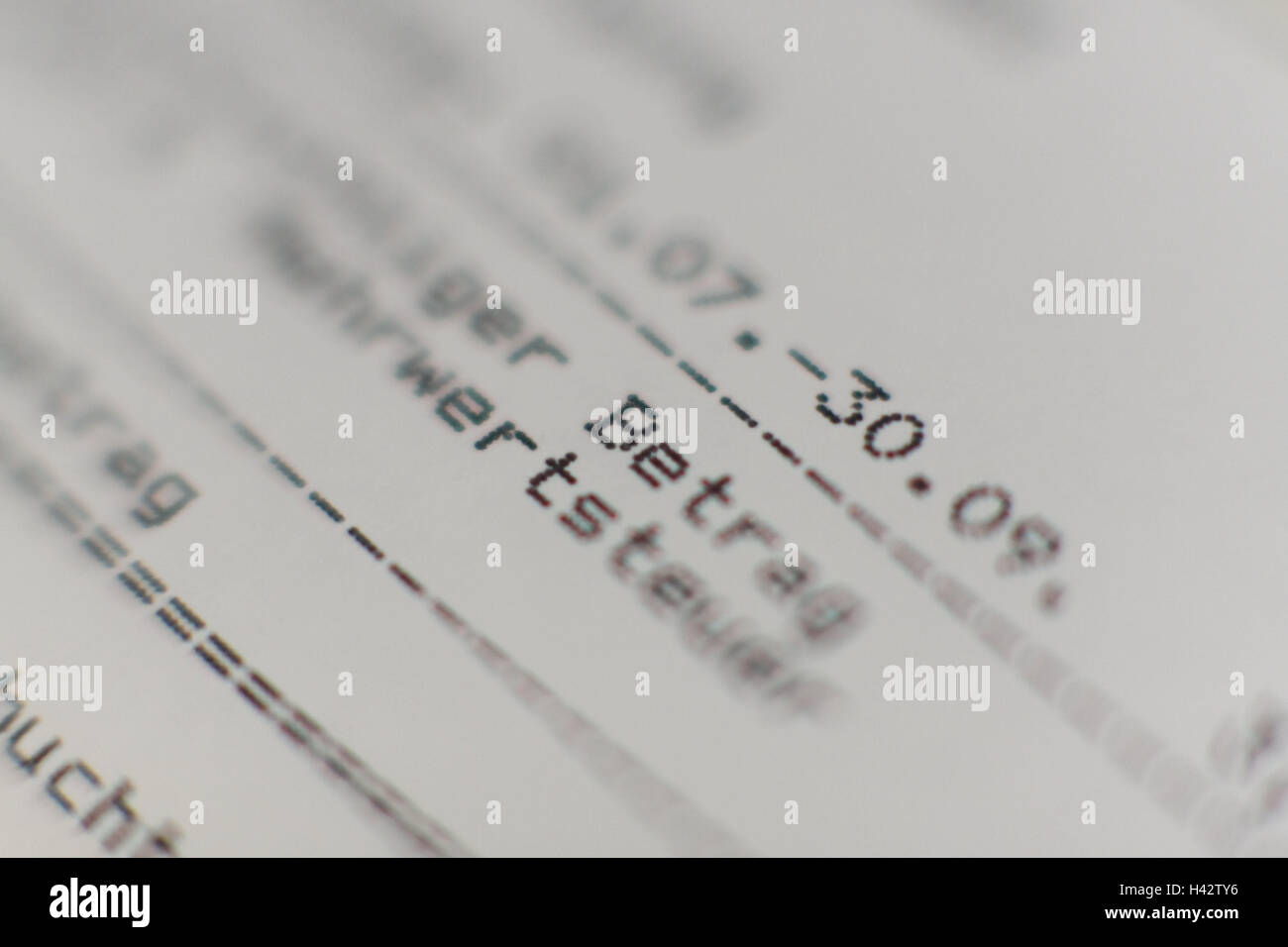 Bill, close up, form, account, amount, balance, document, datum, value added tax, accounting period, demand for - Stock Image
