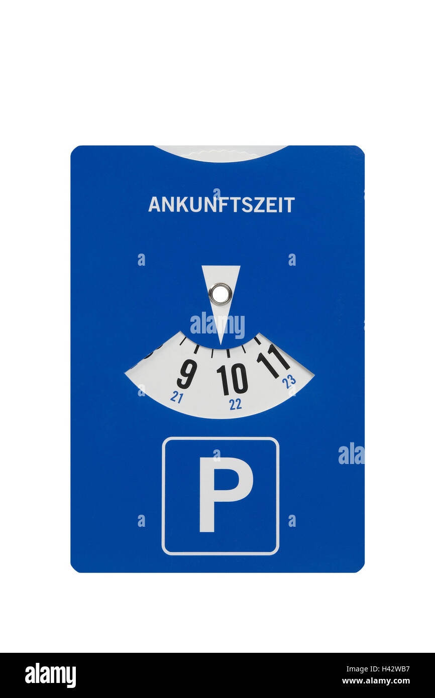 Parking disc, display, arrival time, parking lot, short-term parking lot, arrival, park time, park duration, delimits, - Stock Image