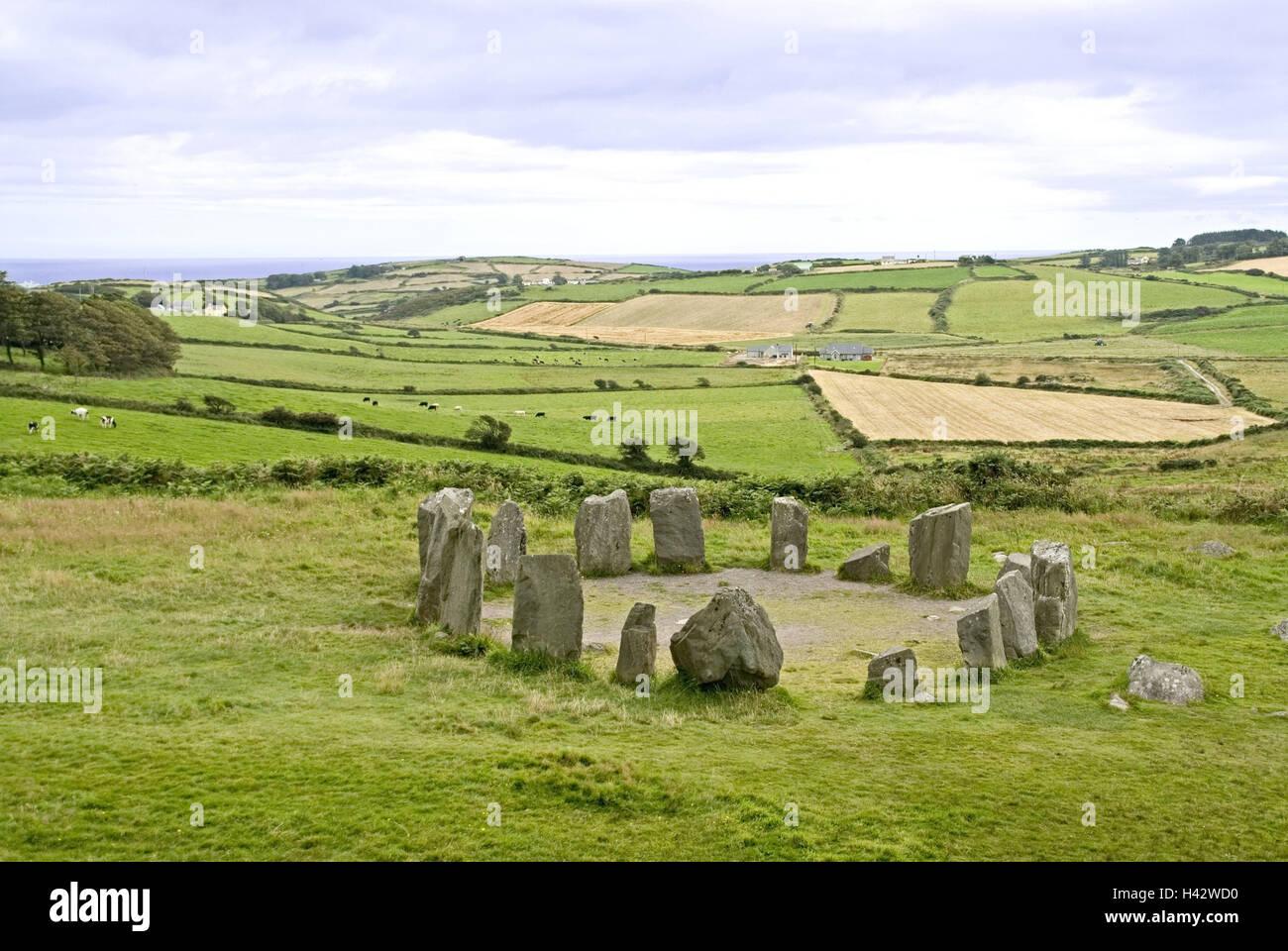 Ireland, Munster, scenery, mountain Drom, Stone Circle, stone circle, megalith, Bronze Age, antiquity, mysticism, - Stock Image
