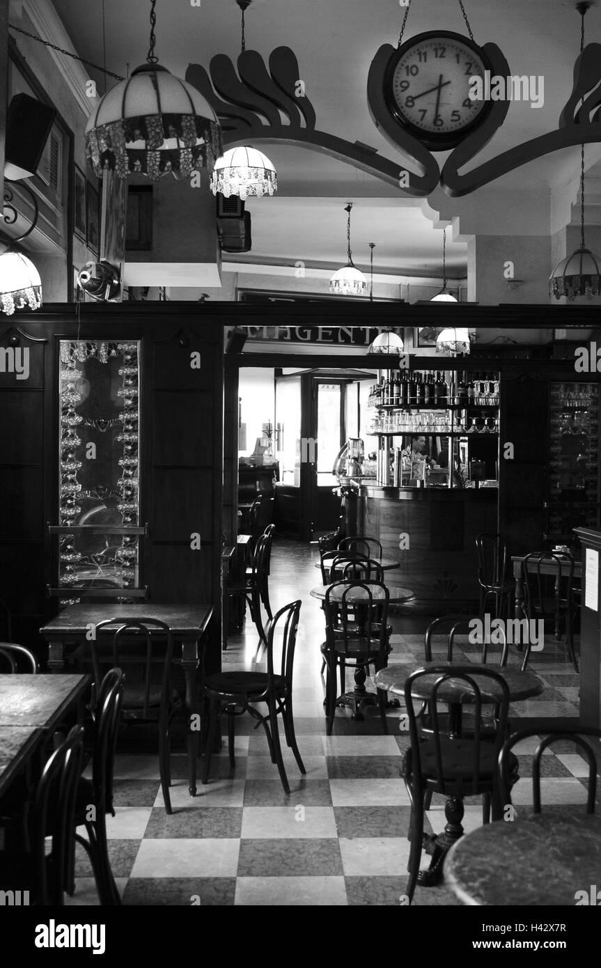 Italy, Milan, bar Magenta, guests, b/w, , - Stock Image