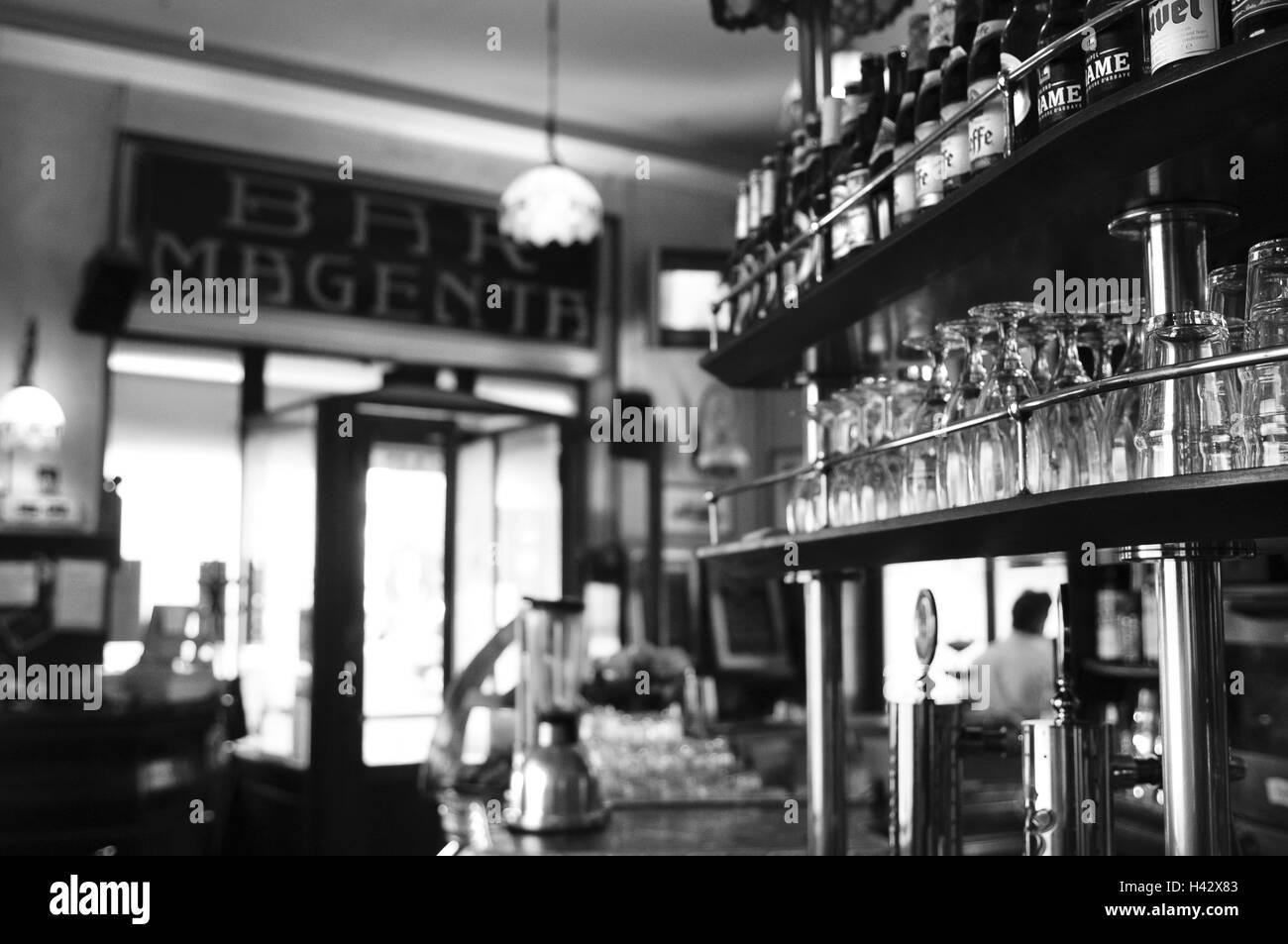 Italy, Milan, bar Magenta, detail, counter, b/w, , - Stock Image