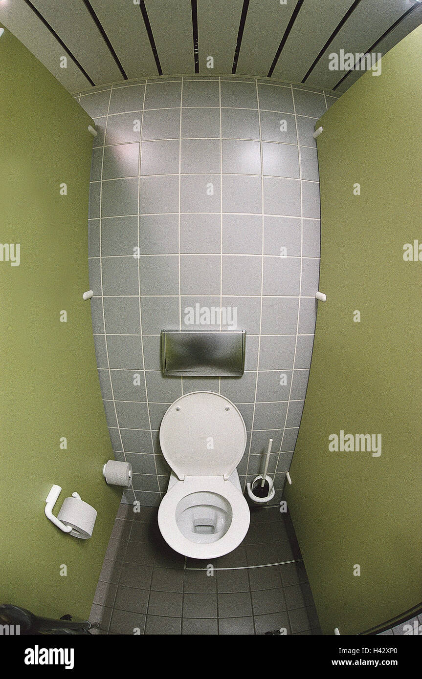 Toilet, publicly, sanitary setup, abortion, water closet, WC, loo, loo bowl, toilet brush, wall, tiles, green, demand - Stock Image