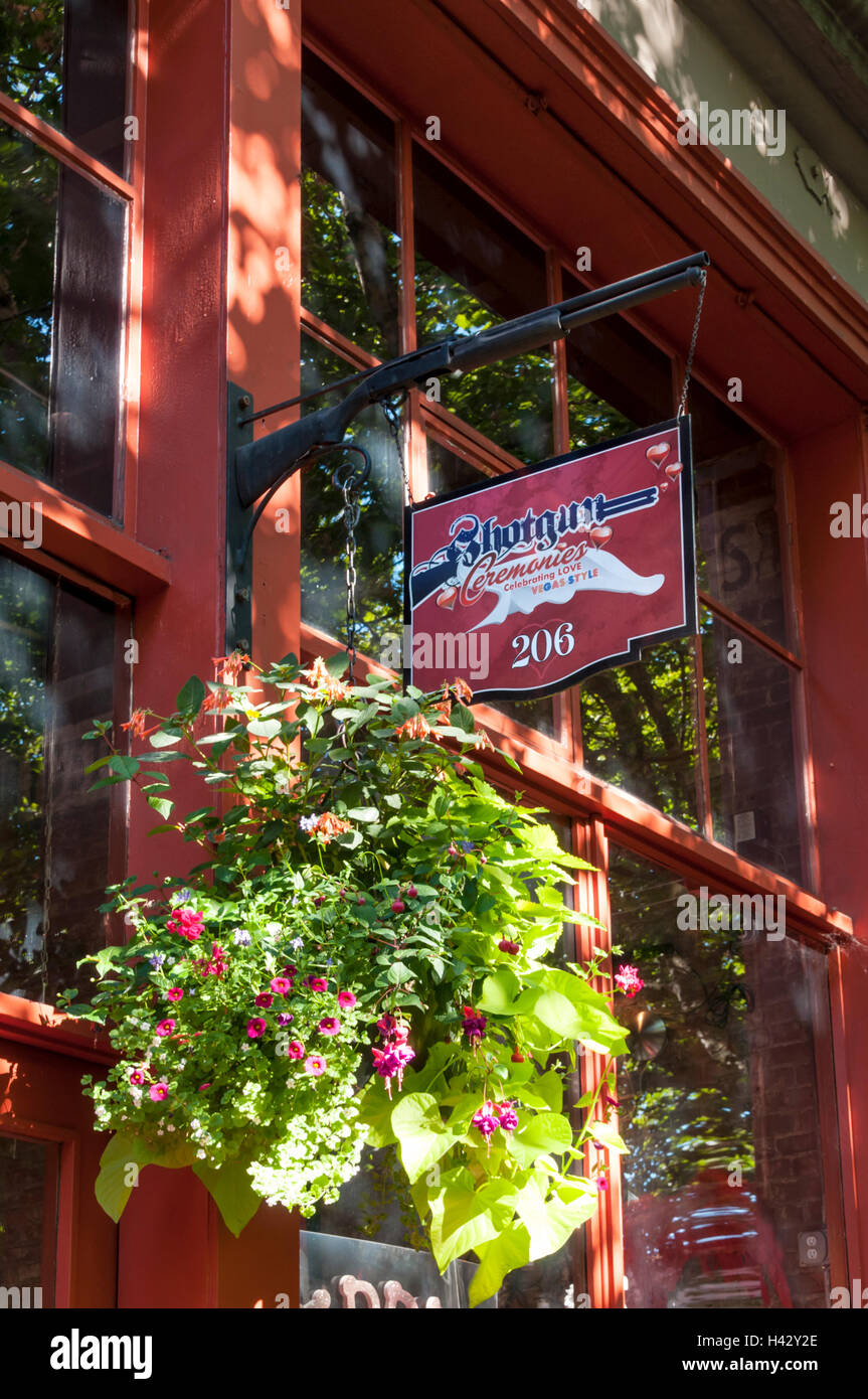 Sign for Shotgun Ceremonies wedding chapel in the Pioneer Square area of Seattle - Stock Image