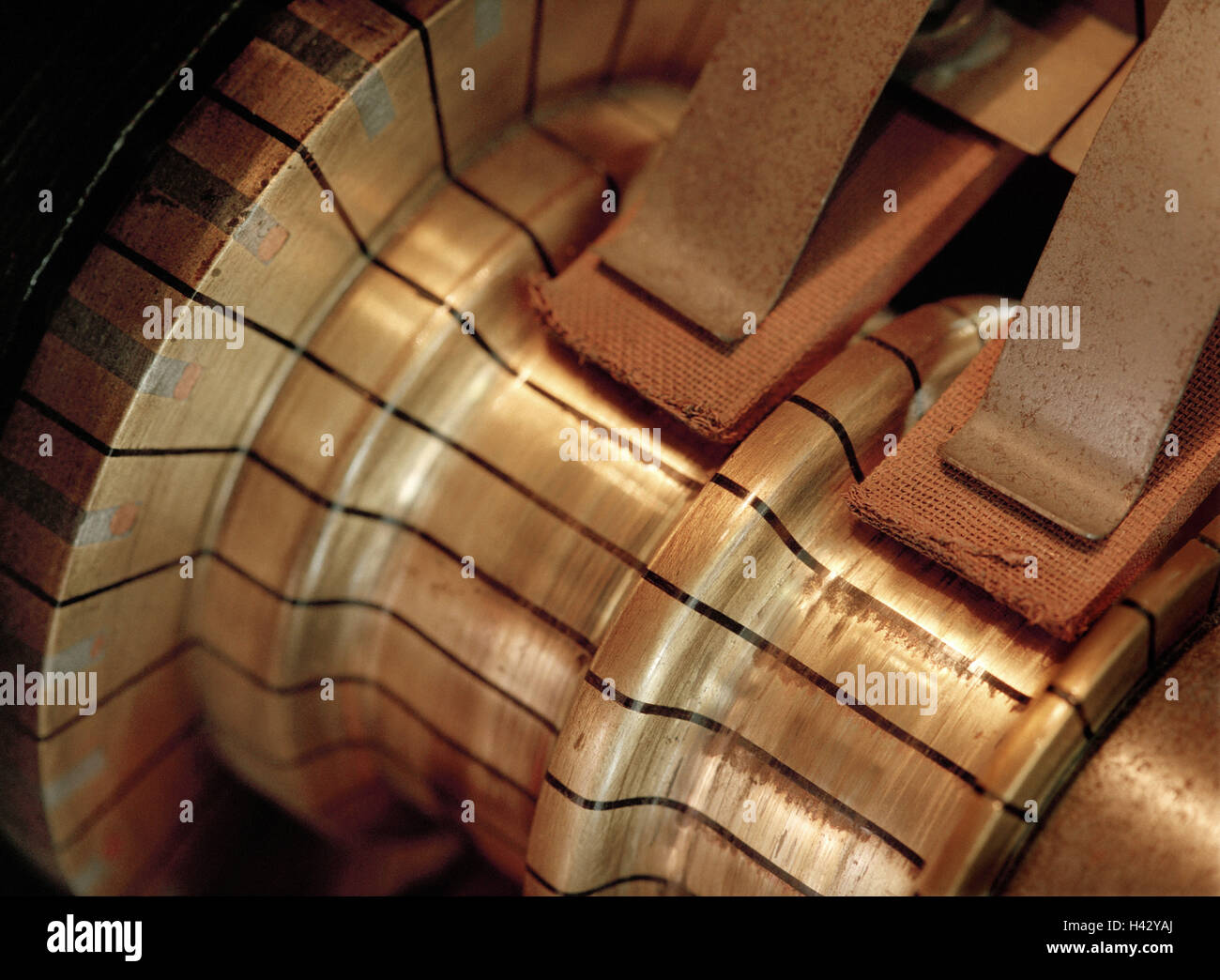 Copper wave, sliding contacts, detail, current generator, generator, power production, energy production, current - Stock Image