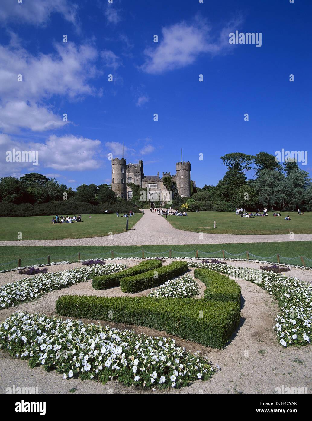 Ireland, Dublin, Malahide Castle, castle grounds, flowerbeds, tourists, Europe, Irishman's country, lock, castle - Stock Image