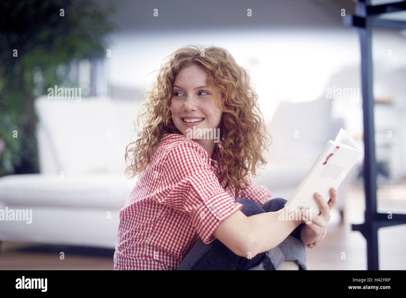Sitting rooms, floor, woman, young, paperback, view shoulder, side view, redheads, red-haired, long-haired, curls, - Stock Image