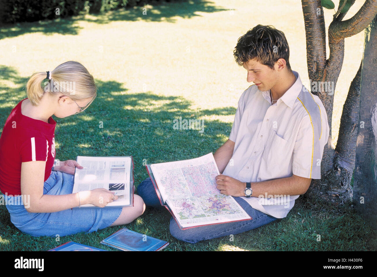Park, tree, shade, young persons, boy, girl, learn, together teenager, youth, summer, outside, schoolboy, friends, - Stock Image
