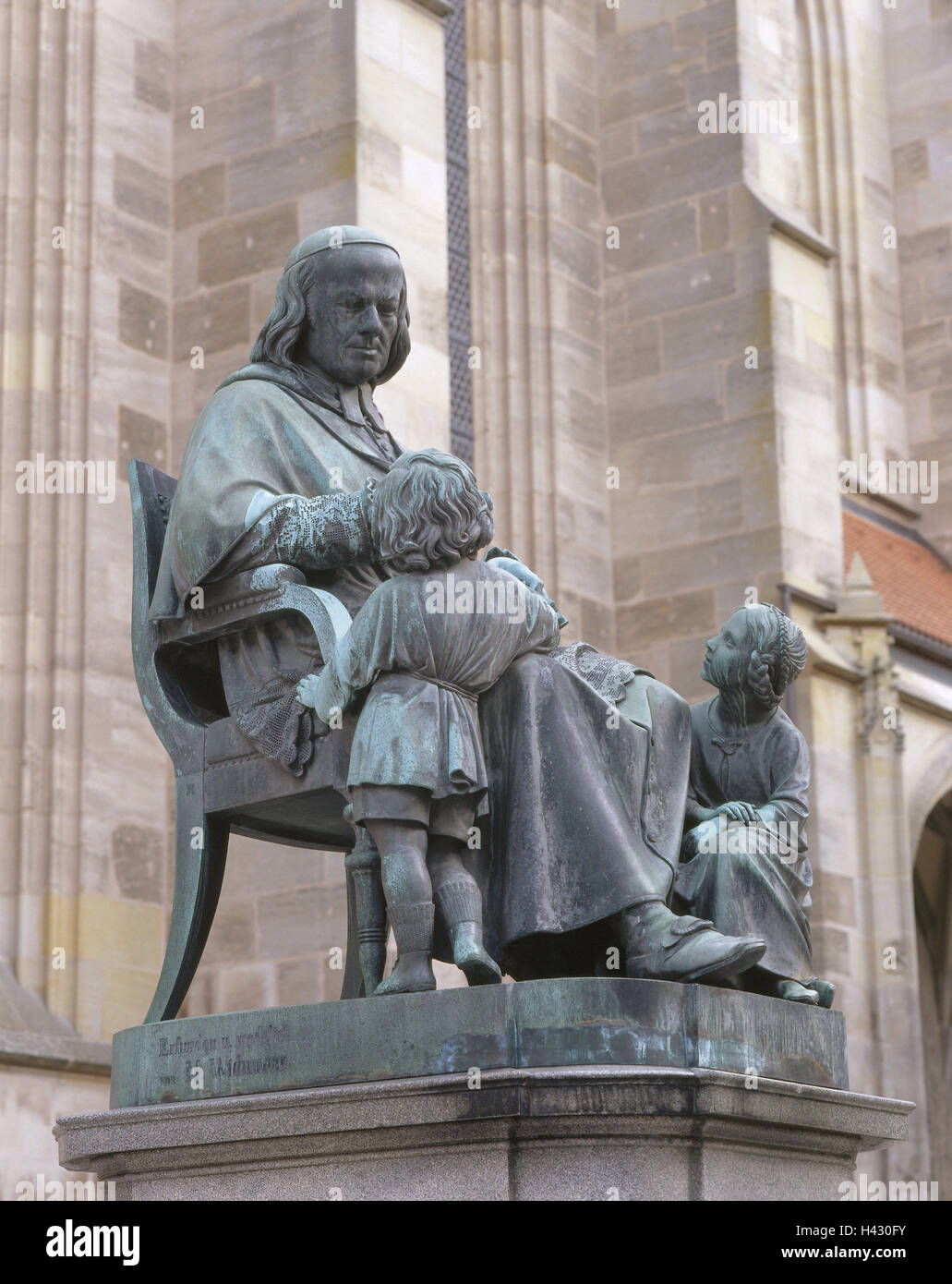 Germany, Bavaria, Central Franconia, Dinkelsbühl, from with Christoph Schmid monument, Europe, Franconia, Münster - Stock Image