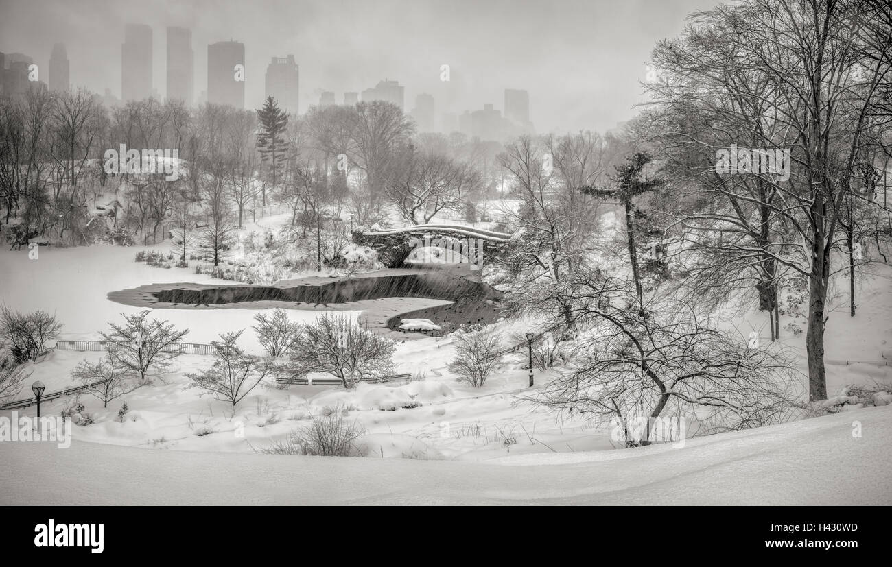 Winter snow storm in Central Park with view on the Gapstow Bridge and the frozen Pond. Manhattan, New York City - Stock Image