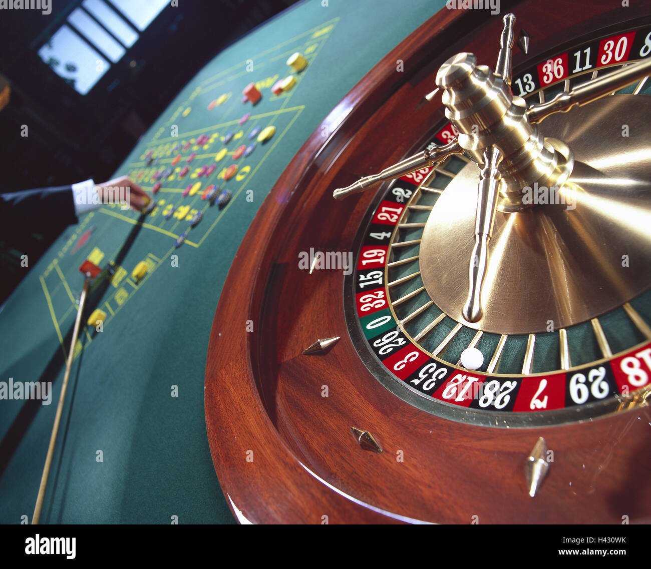 Casino, roulette, man, detail, hand, tokens, place, casino, game chance, game, risk, chance, roulette game, roulette, - Stock Image