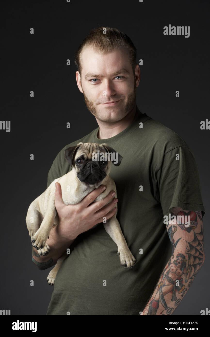 Man, dog, pug, wear, studio, half portrait, - Stock Image