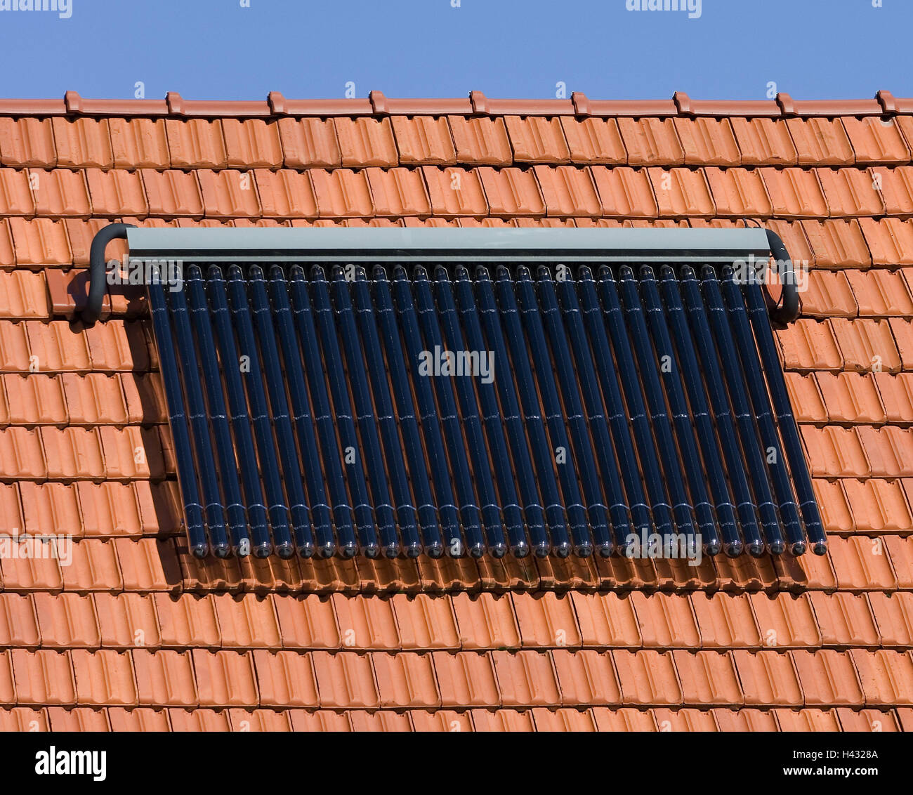 House roof, detail, solar panels, hot-water production, alternatively, alternative energy, water for industrial - Stock Image