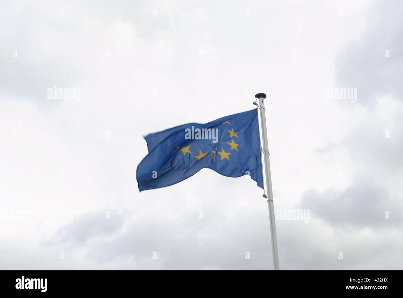 Flagpole, EU flag, flagpole, flag, flag, the EU, European flag, stars, member states, twelve, wind, blow, icon, - Stock Image