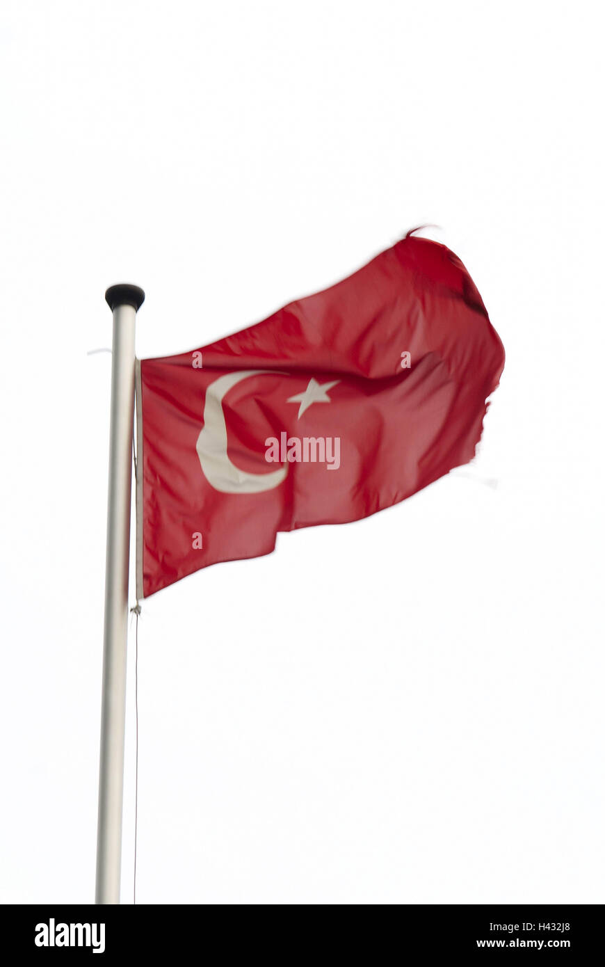 Flagpole, national flag, Turkey, - Stock Image