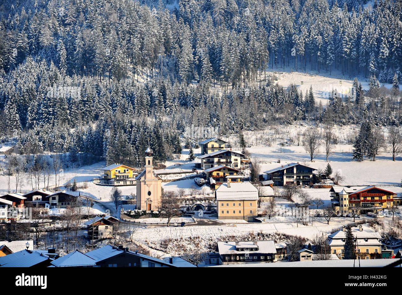 Austria Salzburg Country Flachau Town View Winter Stock Photo Alamy