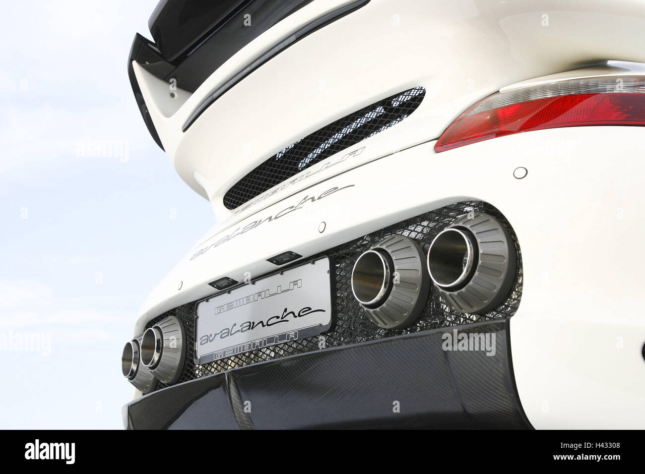 Gemballa Porsche, Avalanche, white, rear from below, detail - Stock Image
