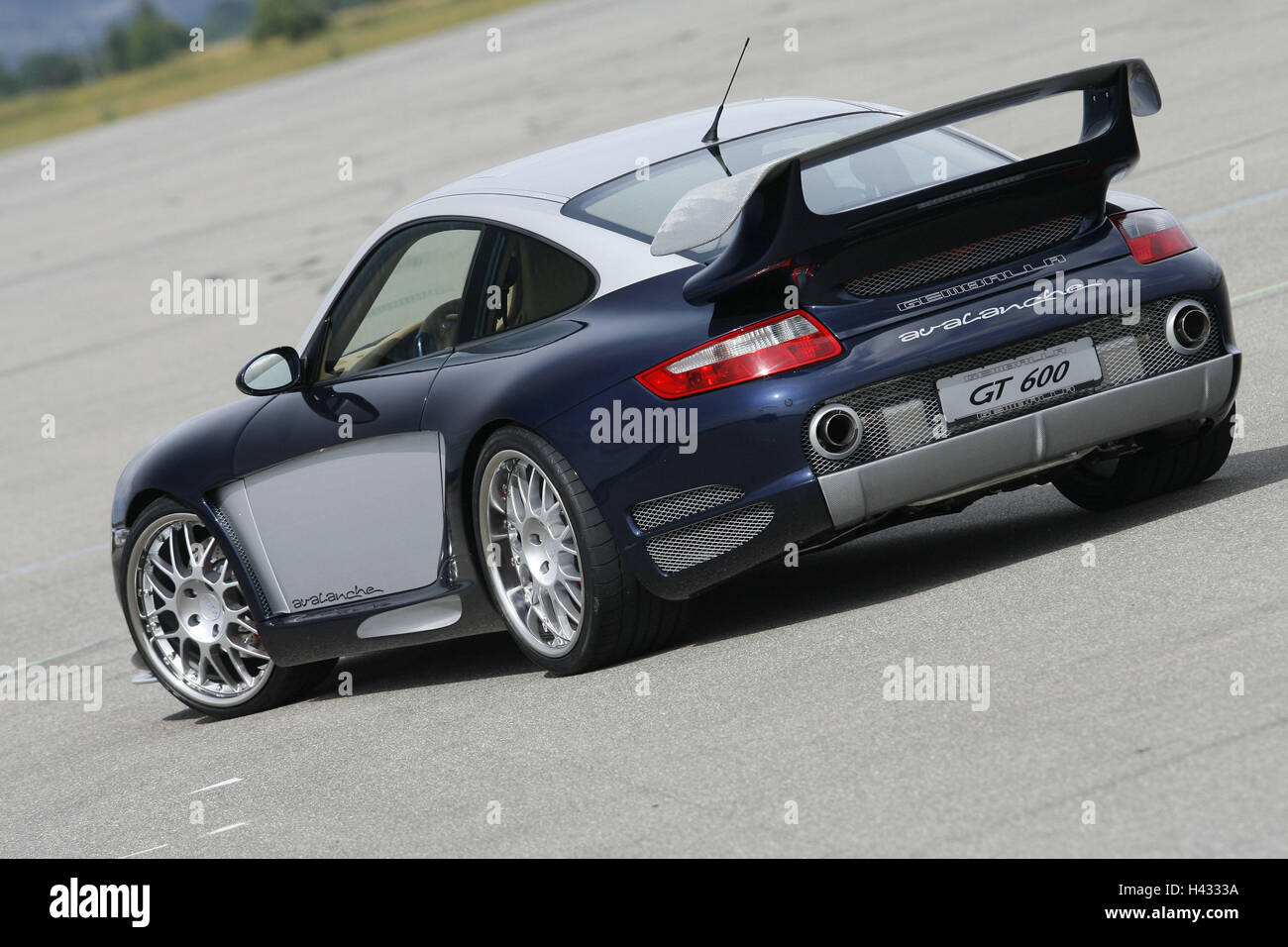 Gemballa Porsche, Avalanche, blue white, diagonally rear view, aslant - Stock Image