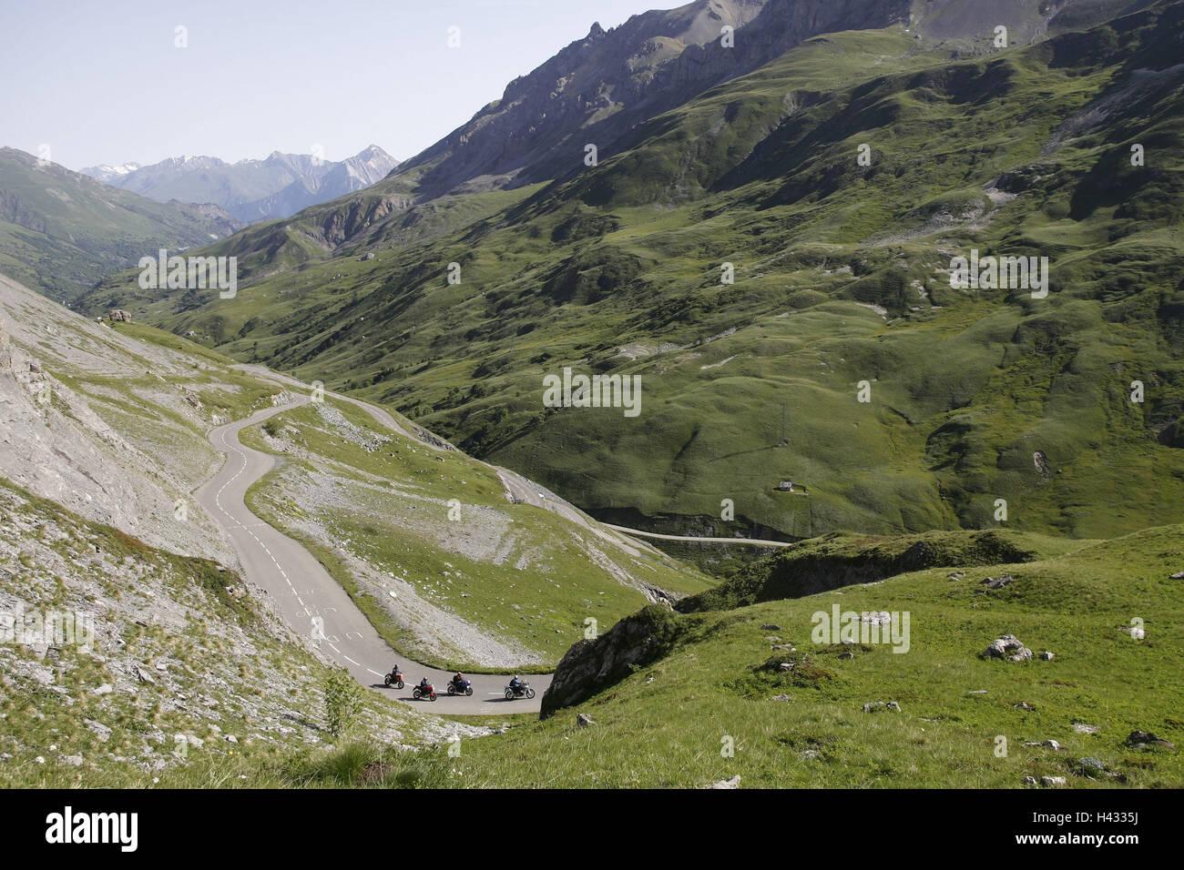 Motorcycles, alp scenery - Stock Image