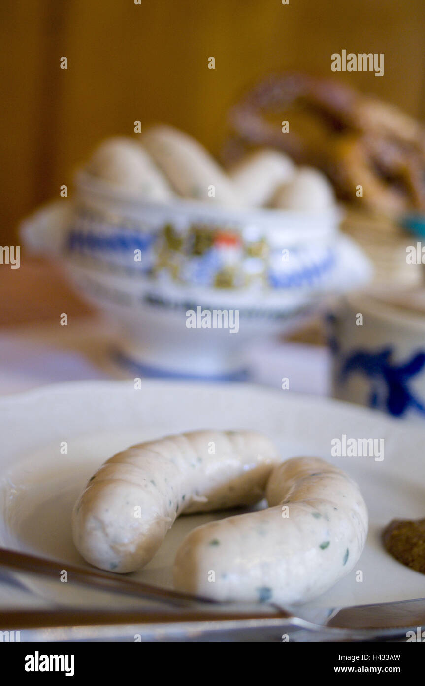 Table, plate, pot, veal sausages, Brezen, Food, Upper Bavaria, in Bavarian, typically, veal sausage breakfast, breakfast, - Stock Image