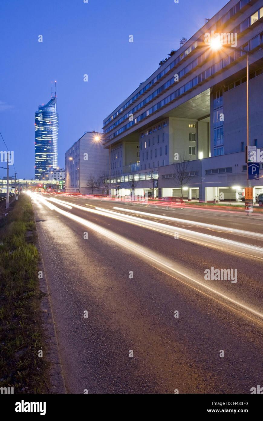 Austria, Vienna, commercial imitation leather, Milleniumstower, street, light tracks, night, - Stock Image