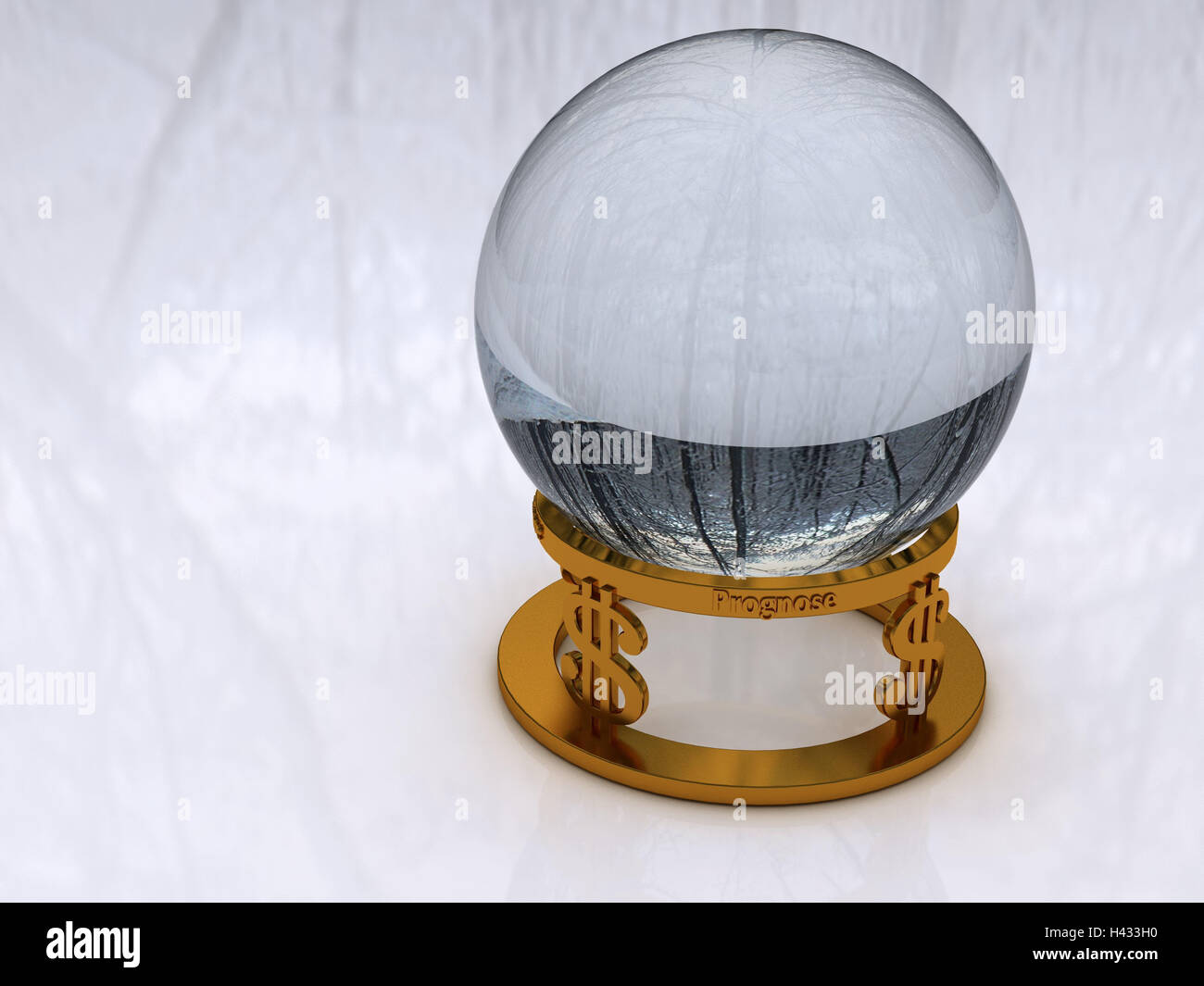 Crystal ball, mounting, dollar sign, computer graphics, glass ball, sphere, forecast, future, Zukuftsprognose, economic - Stock Image