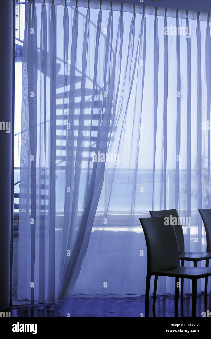 Room, window, curtain, curtains, transparent, easily, chairs, detail, dreams way, view, sea, stairs, spiral staircase, - Stock Image