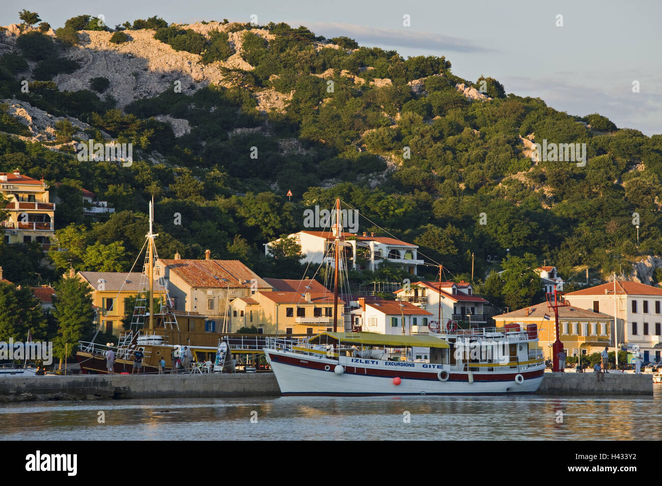 Croatia, Kvarner bay, island Krk, city Baska, ship, harbour, - Stock Image