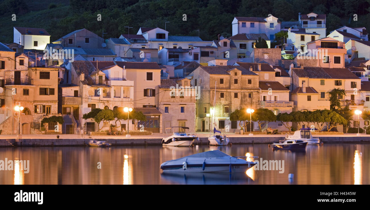 Croatia, Kvarner gulf, Krk (island), city of Baska, night, lighting, harbour, - Stock Image