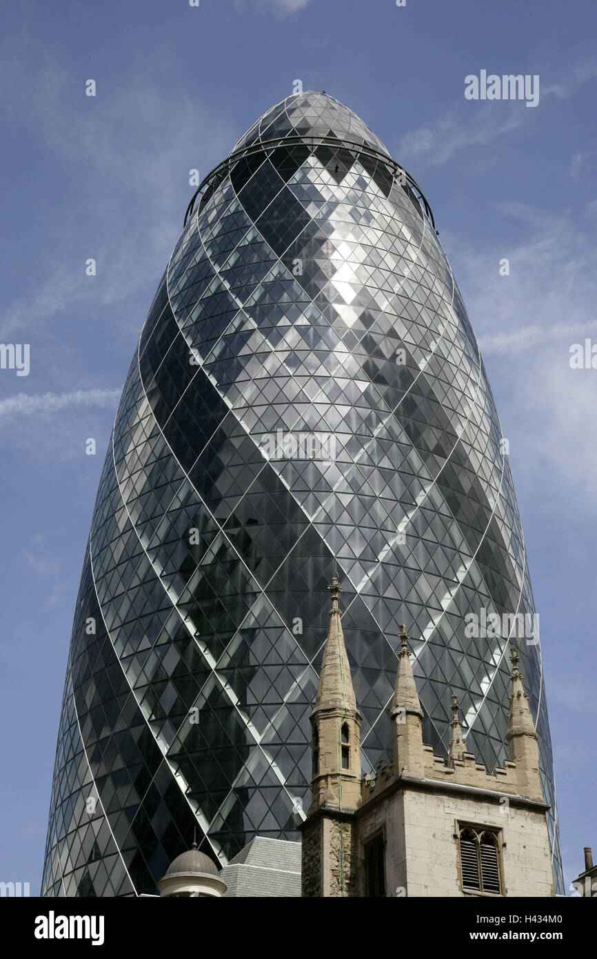 Great Britain, England, London, Swiss-Re-Tower, - Stock Image