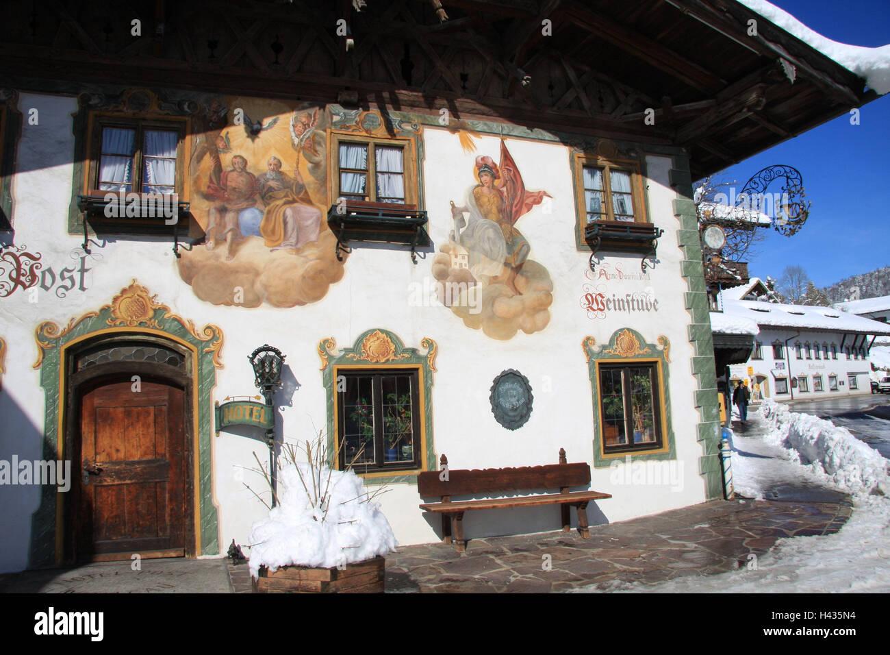 Germany, Bavaria, Werdenfels, embankment region, postal hotel, facade, Lüftlmalerei, detail, South Germany, - Stock Image