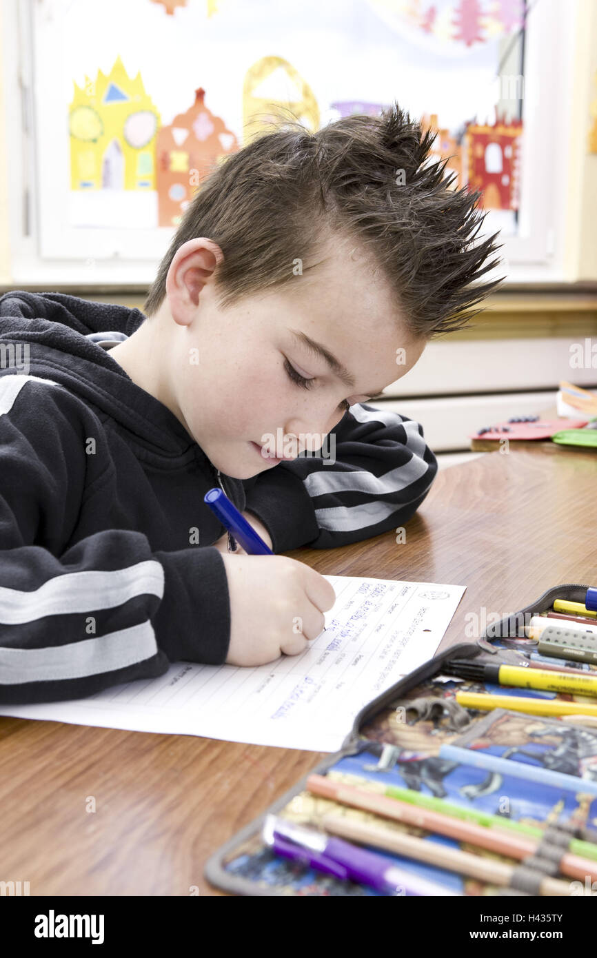 Classrooms, schoolboys, lessons, write, Stock Photo