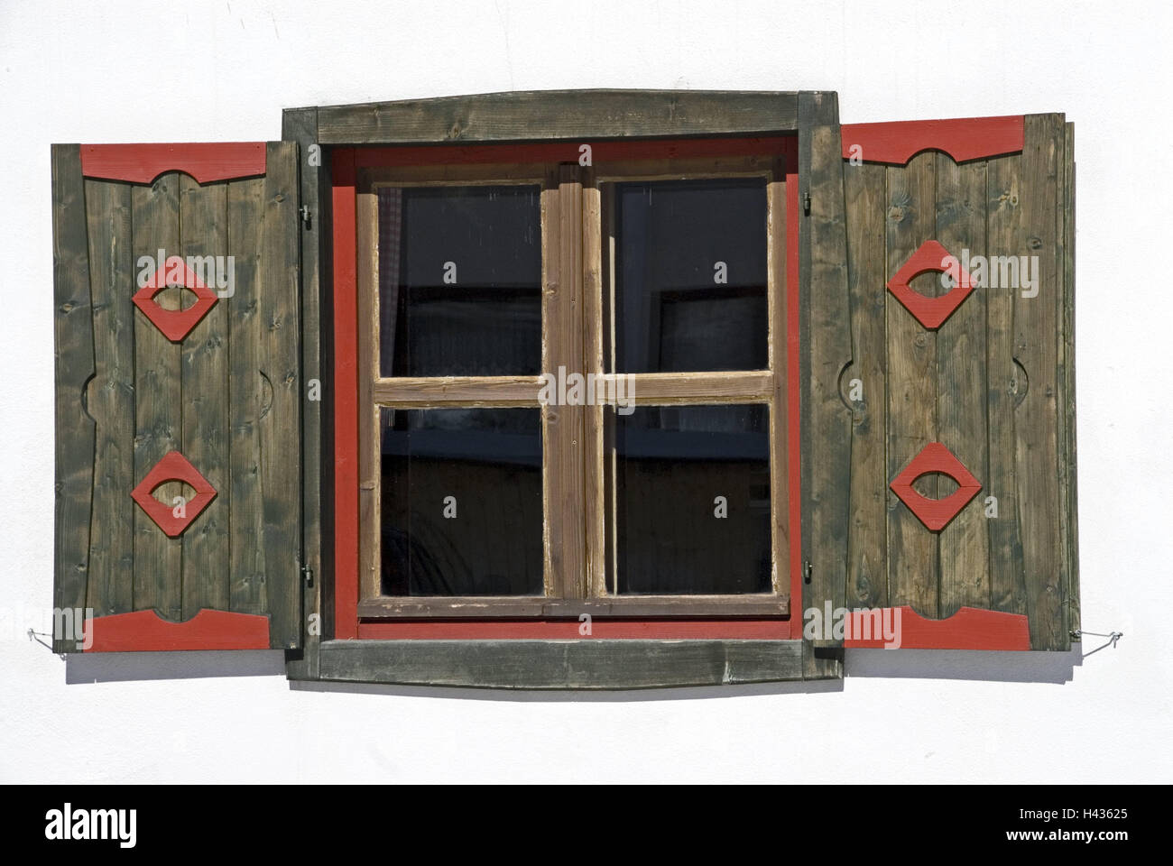 Farmhouse, detail, window, shutters, Austria, Styria, Ramsau in the roof stone, window, shutters, decorates, red, Stock Photo