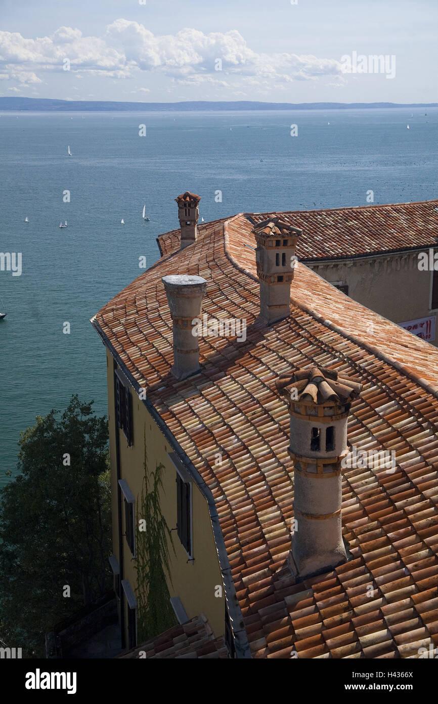 Italy, Friaul, Duino, bile coast, Castello Nuovo, detail, from above, Northern Italy, coastal region, steep coast, - Stock Image