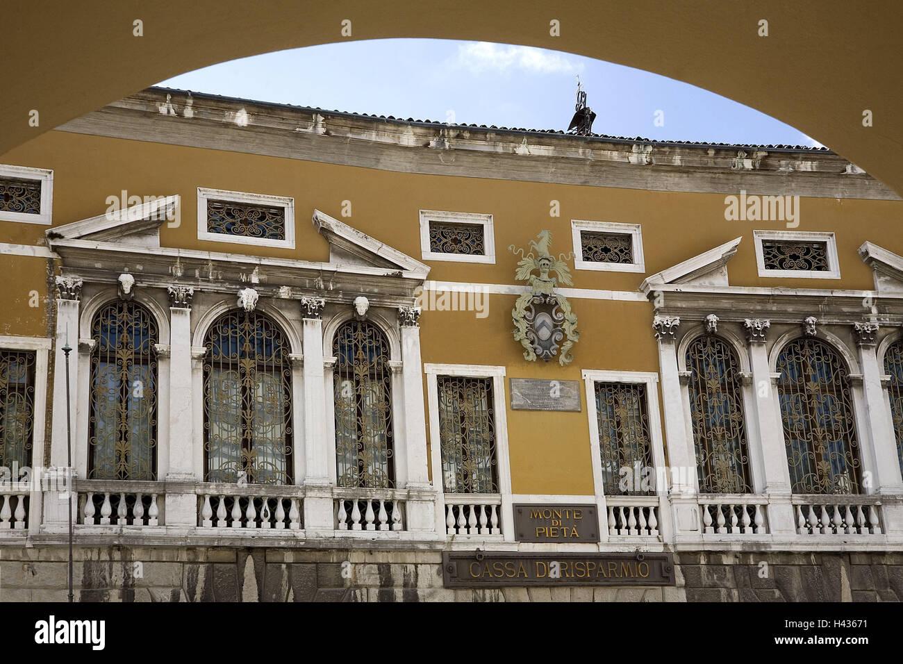 Italy, Udine, Mercato Vecchio, Palazzo del Monte di Pieta, facade, detail, house, building, palace, structure, architecture, Stock Photo