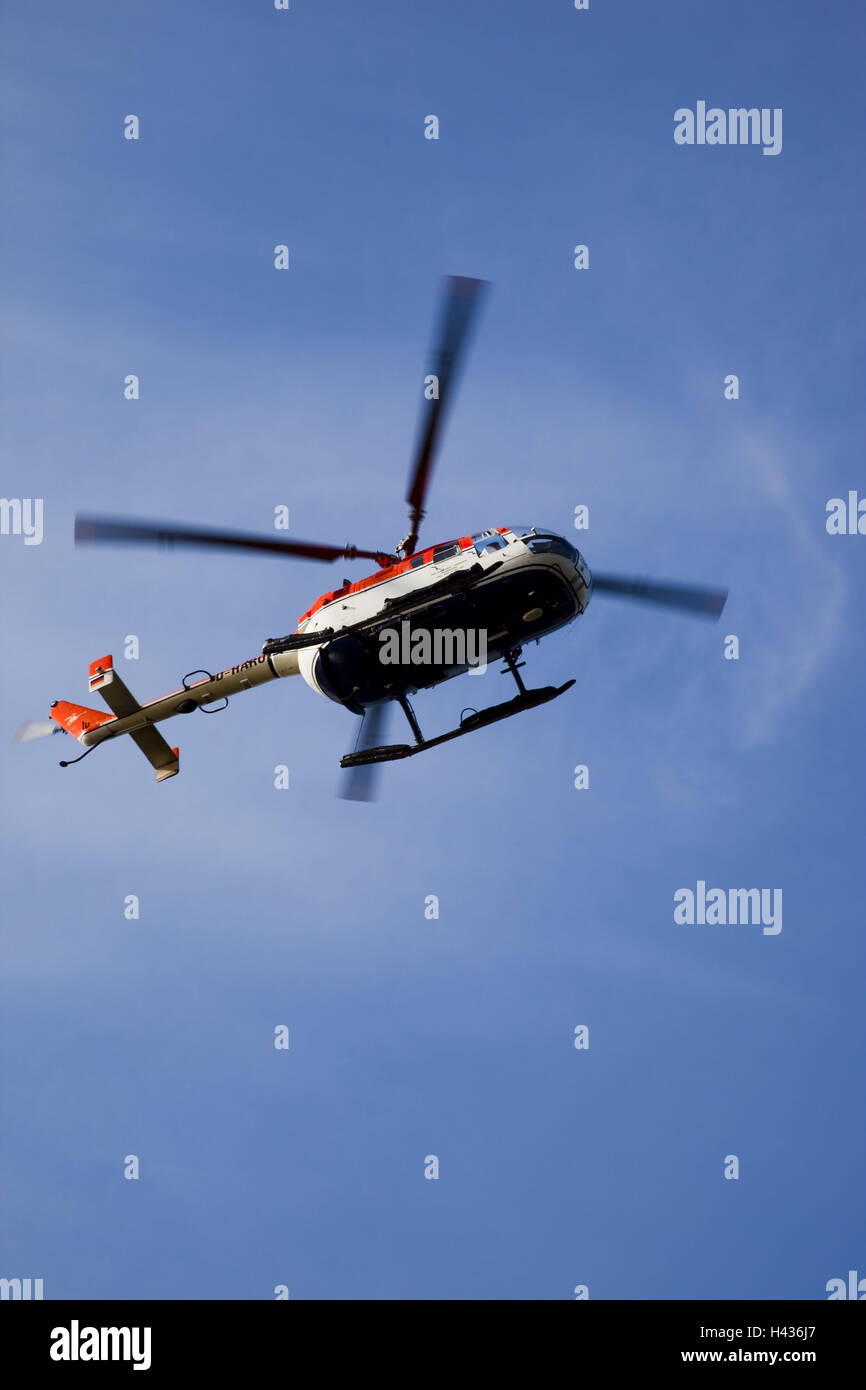 Helicopter, from below, - Stock Image