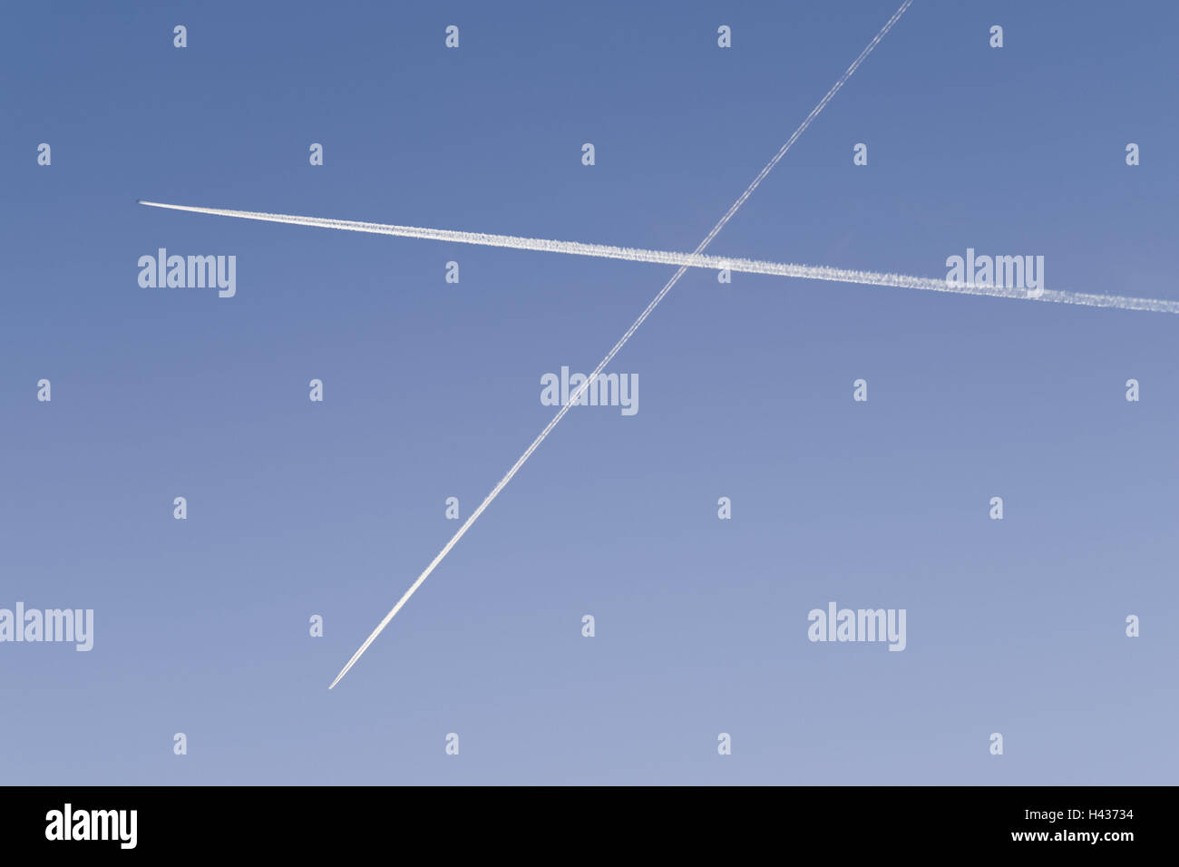 Heavens, blue, condensation trails, from below, air traffic, flight route, airline, cruise, traffic, aviation, cross, Stock Photo