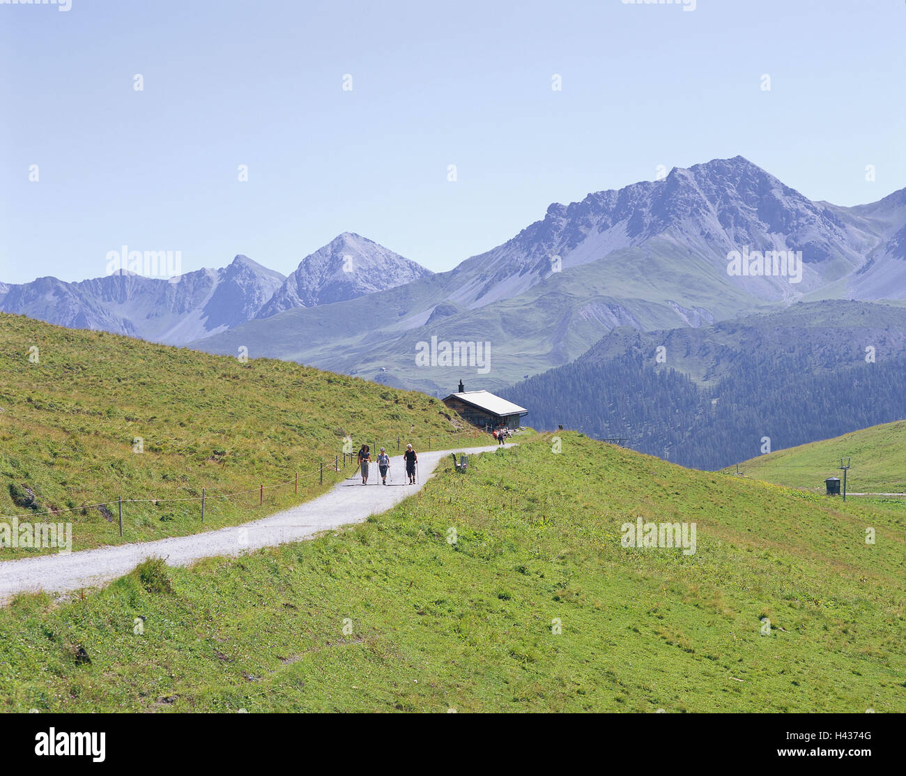 Switzerland, Arosa, mountain landscape, Arlenwaldweg, wanderer, Graubuenden, mountains, alp, alpine hut, footpath, Stock Photo