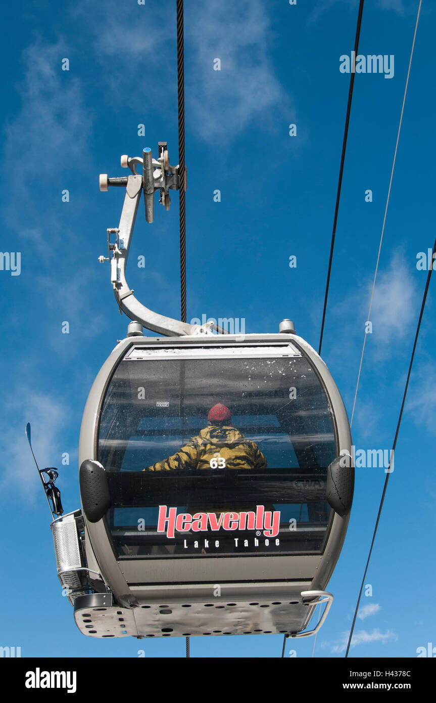 Gondola ascends from Heavenly Village, Heavenly Mountain Ski Resort, South Lake Tahoe, California. Stock Photo