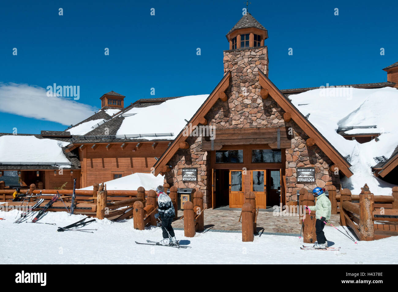 Exterior, the Lodge at Sunspot, Winter Park Ski Resort, Winter Park, Colorado. - Stock Image