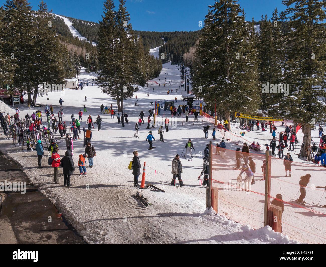 crowds at base area, ski santa fe, santa fe, new mexico stock photo