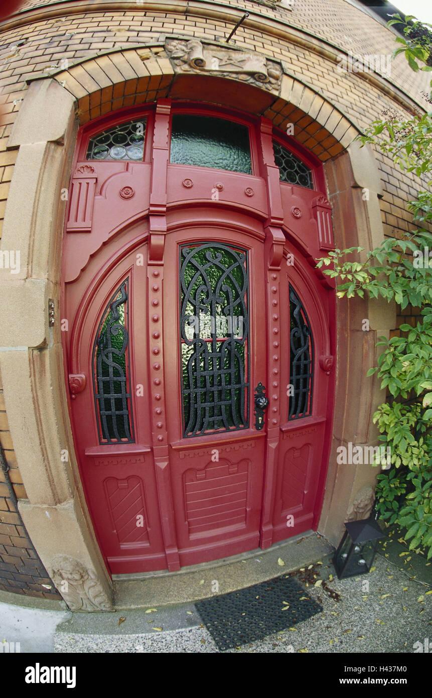Entrance wooden door wide angle recording house building brewing trade door bow door front door input red art nouveau distorts wide angle ... & Entrance wooden door wide angle recording house building ...
