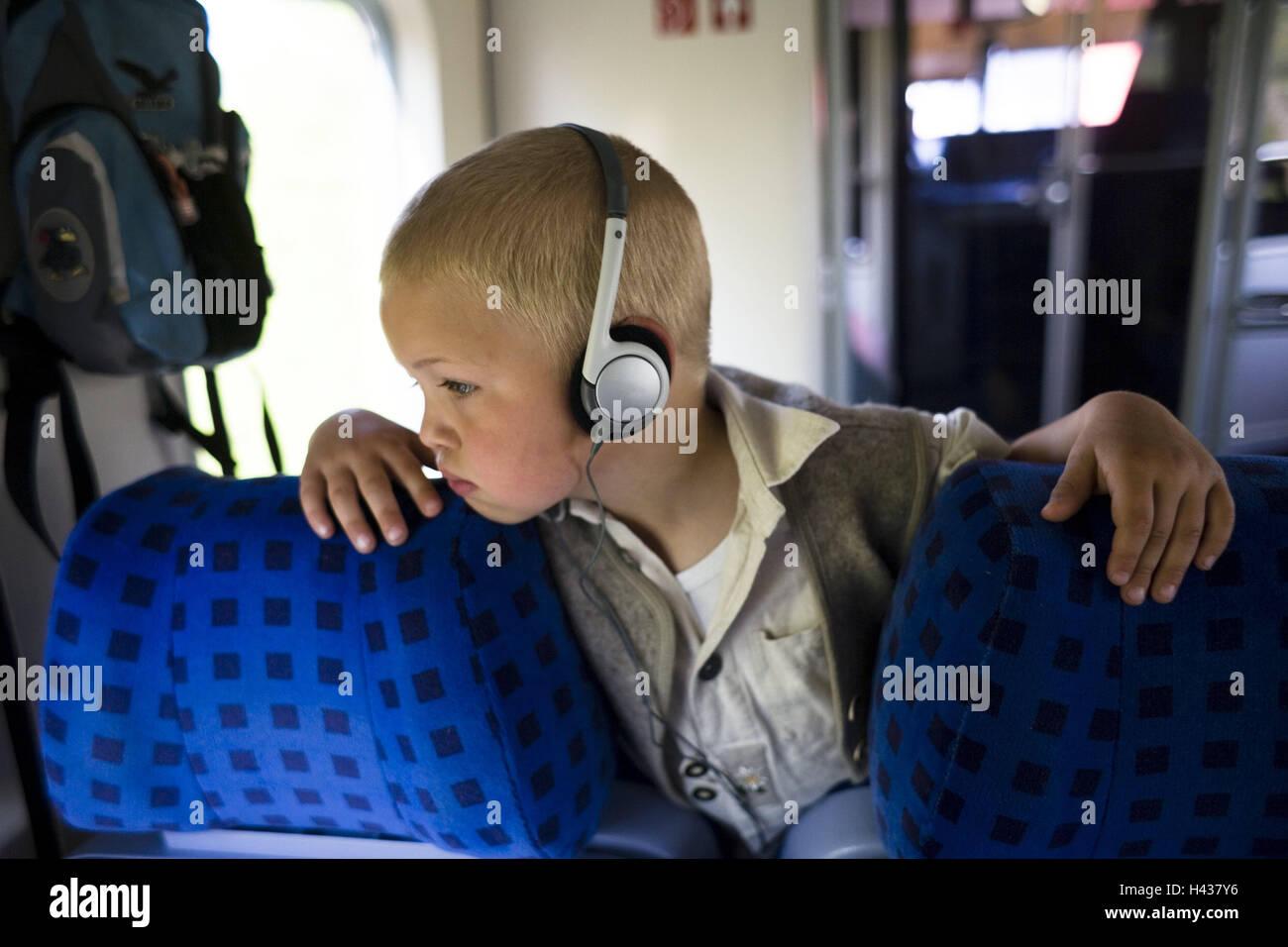 Train, child, earphone, person, boy, blond, MP3 player