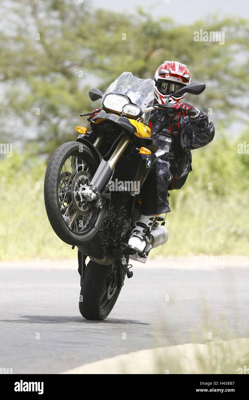 BMW F 800 GS, journey, Wheelie, front view Stock Photo: 123003643