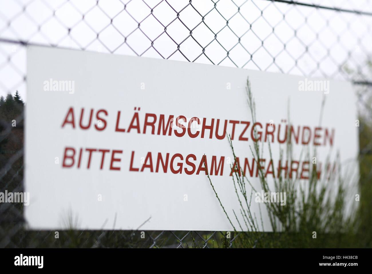 Nürburgring, race track, fence, sign, noise prevention, blur, - Stock Image