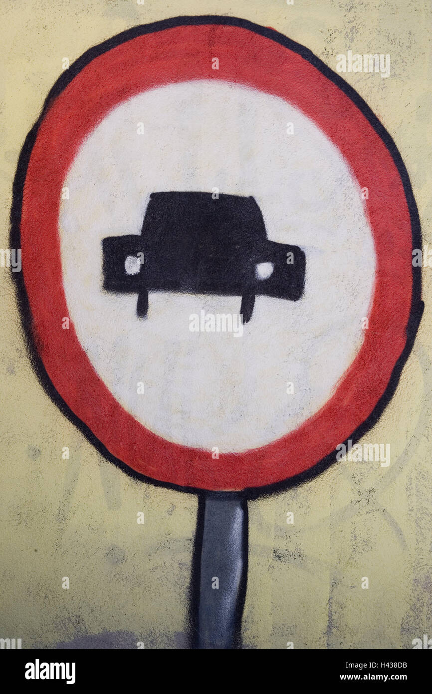 More poorly, road sign, painted on, outside wall, outside wall, sign, no parking sign, sign, traffic control, tip, Stock Photo