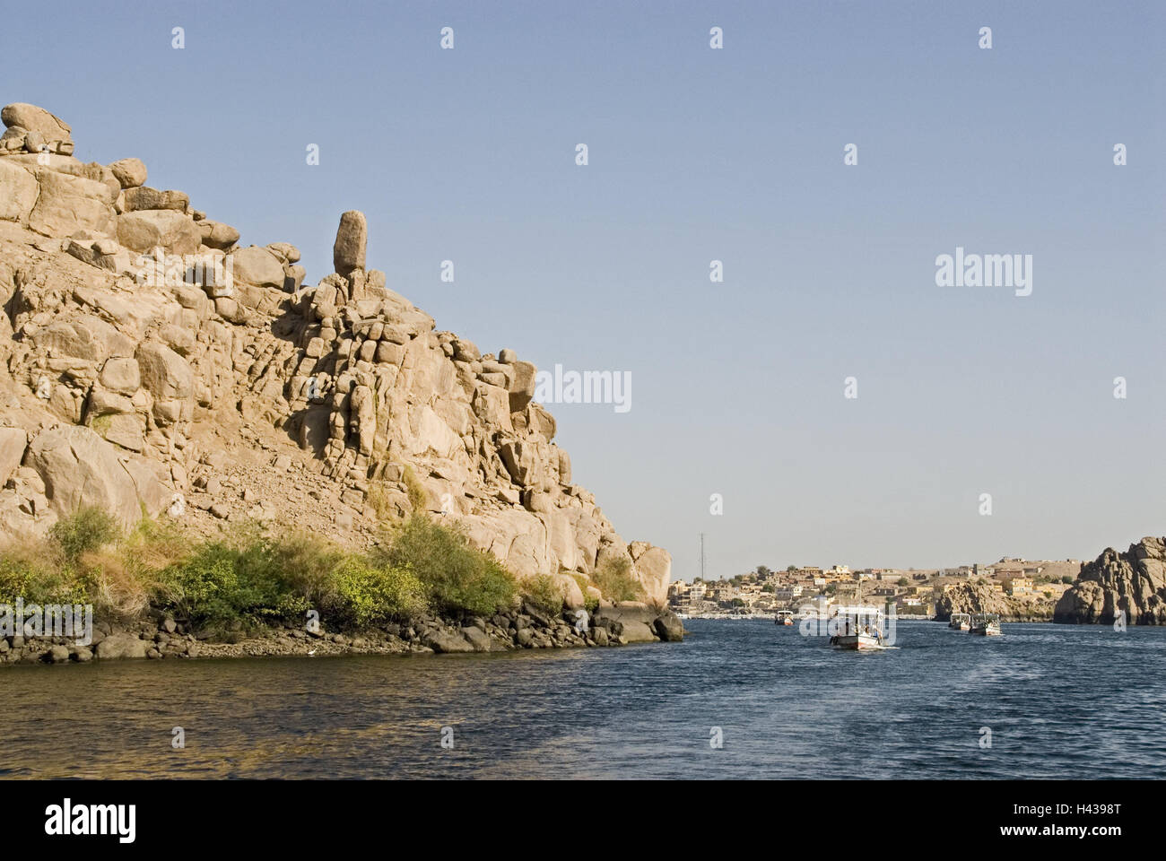 Egypt, Aswan, cataract, local view, the Nile, island Philae, Upper Egypt, scenery, mountains, rock, river, waters, - Stock Image