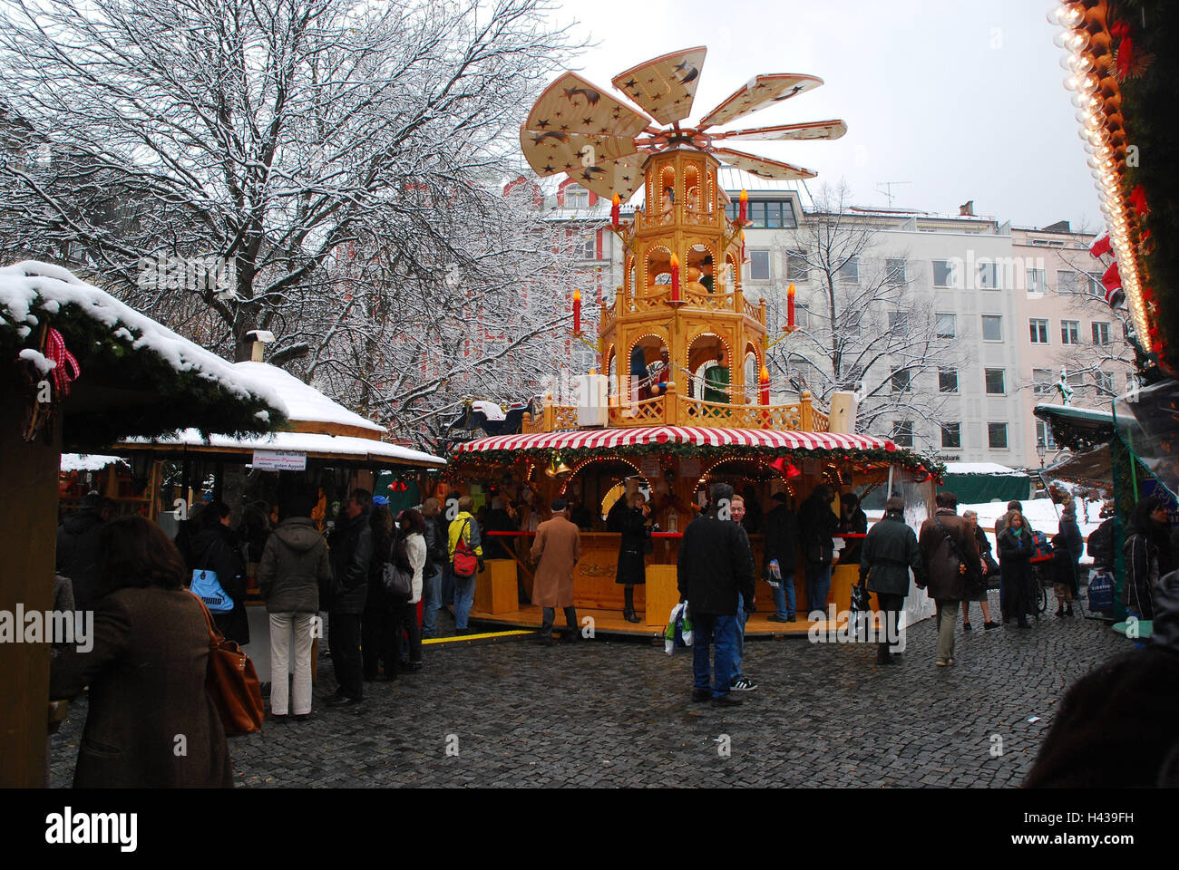 Christmas Pyramid.Germany Upper Bavaria Munich Cattle Market Christmas