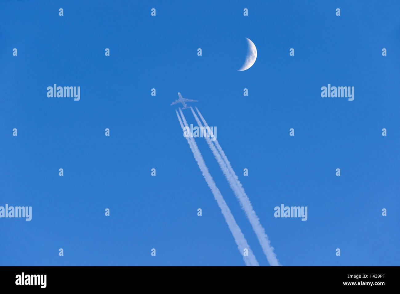 Airplane, condensation trail, moon, heaven, blue, Stock Photo